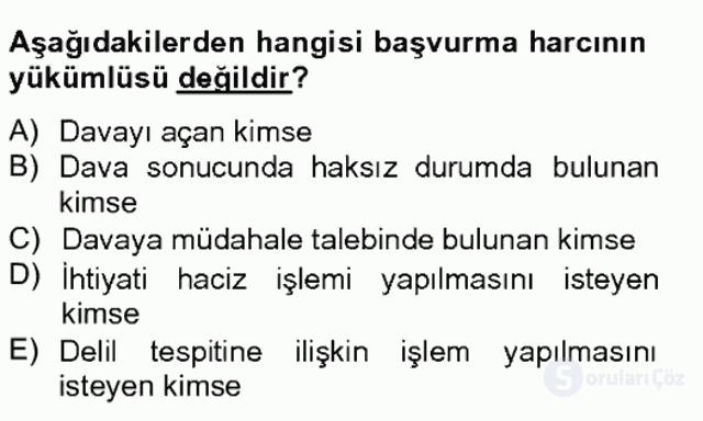 Damga Vergisi ve Harçlar Bilgisi Bahar Final 15. Soru