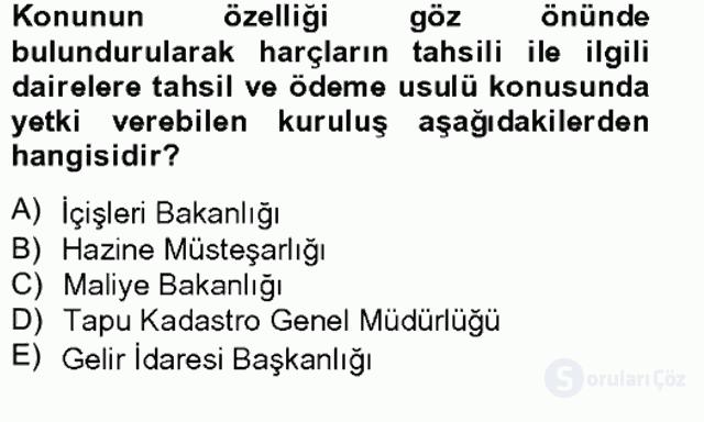 Damga Vergisi ve Harçlar Bilgisi Bahar Final 16. Soru