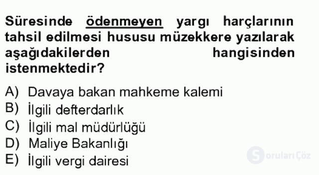 Damga Vergisi ve Harçlar Bilgisi Bahar Final 19. Soru