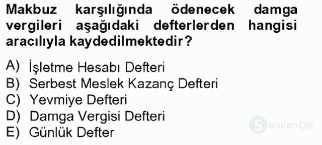 Damga Vergisi ve Harçlar Bilgisi Bahar Final 2. Soru