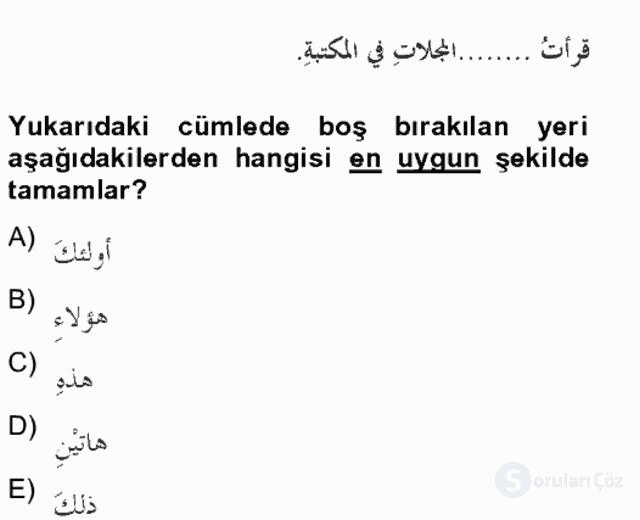 Arapça II Bahar Final 11. Soru