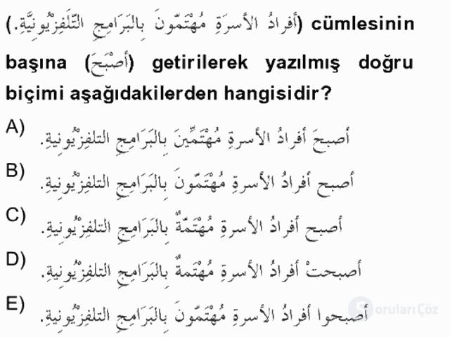 Arapça II Bahar Final 18. Soru