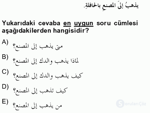Arapça II Bahar Final 7. Soru