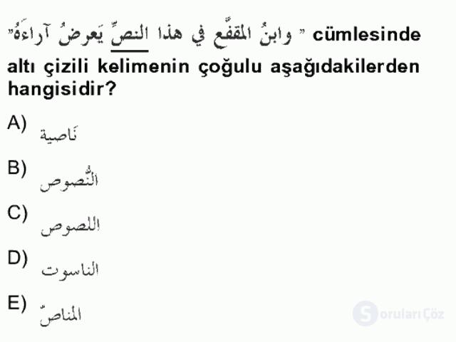 Arapça IV Bahar Final 10. Soru
