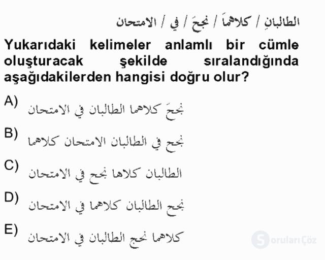 Arapça IV Bahar Final 12. Soru