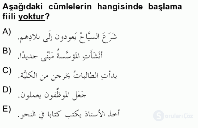 Arapça IV Bahar Final 5. Soru