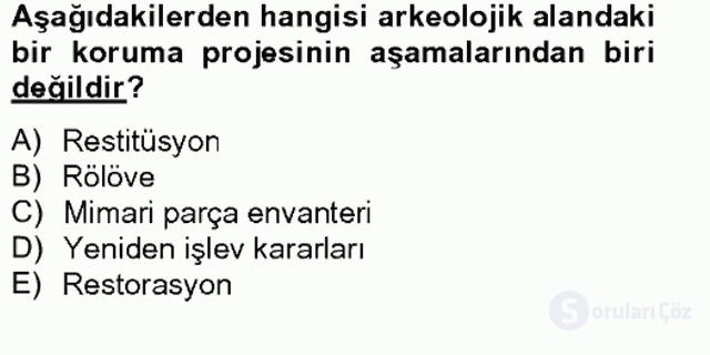 Arkeolojik Alan Yönetimi Bahar Final 15. Soru