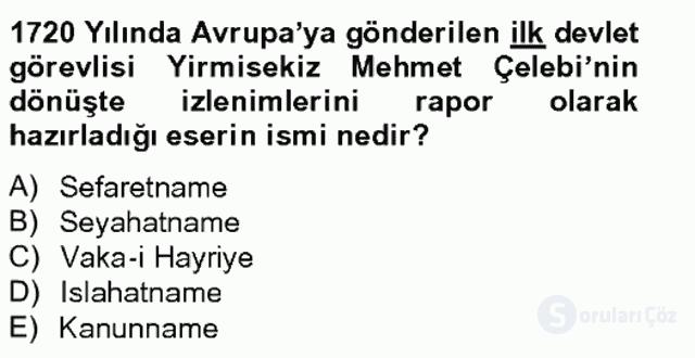 Ortaçağdan Günümüze Anadolu Uygarlıkları Bahar Final 14. Soru