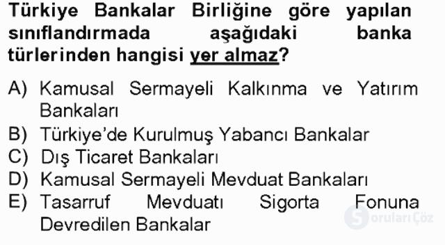 Banka ve Sigorta Muhasebesi Bahar Final 1. Soru