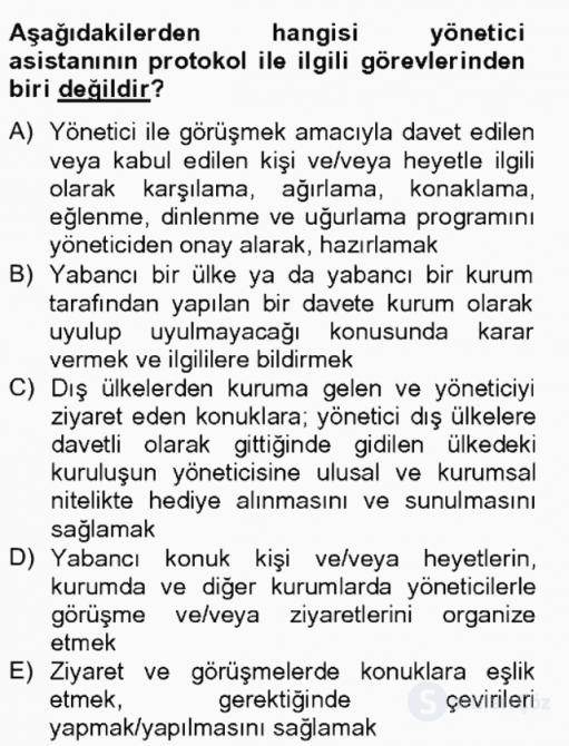 İş Ortamında Protokol ve Davranış Kuralları Bahar Final 19. Soru