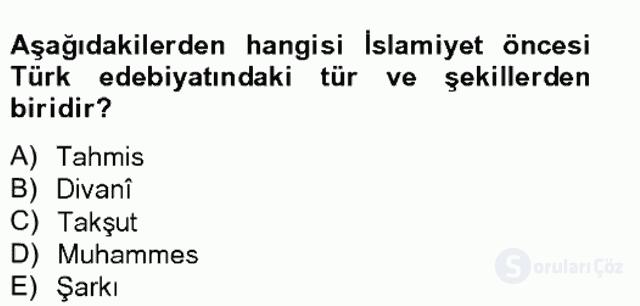 Halk Edebiyatına Giriş II Bahar Final 10. Soru