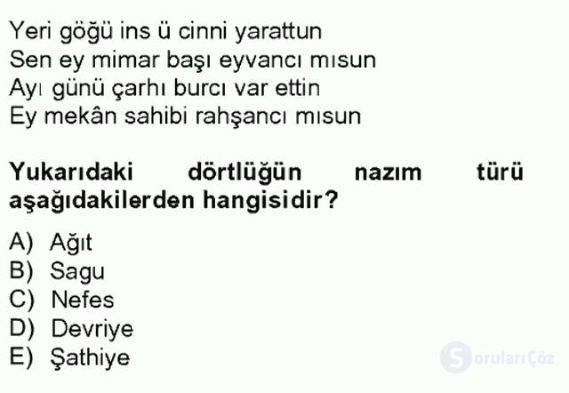 Halk Edebiyatına Giriş II Bahar Final 11. Soru