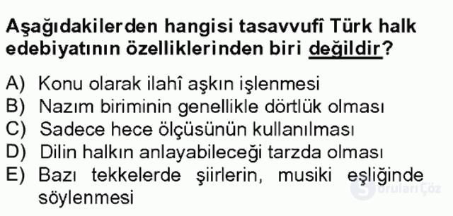 Halk Edebiyatına Giriş II Bahar Final 13. Soru