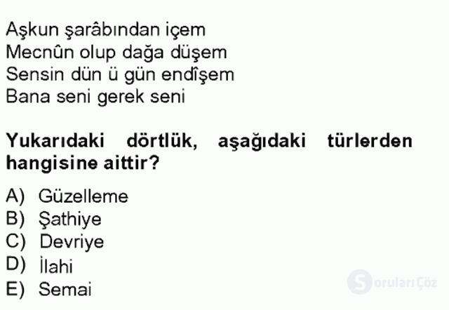 Halk Edebiyatına Giriş II Bahar Final 14. Soru
