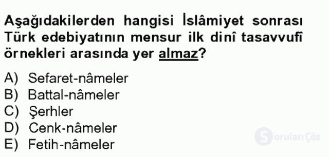 Halk Edebiyatına Giriş II Bahar Final 15. Soru