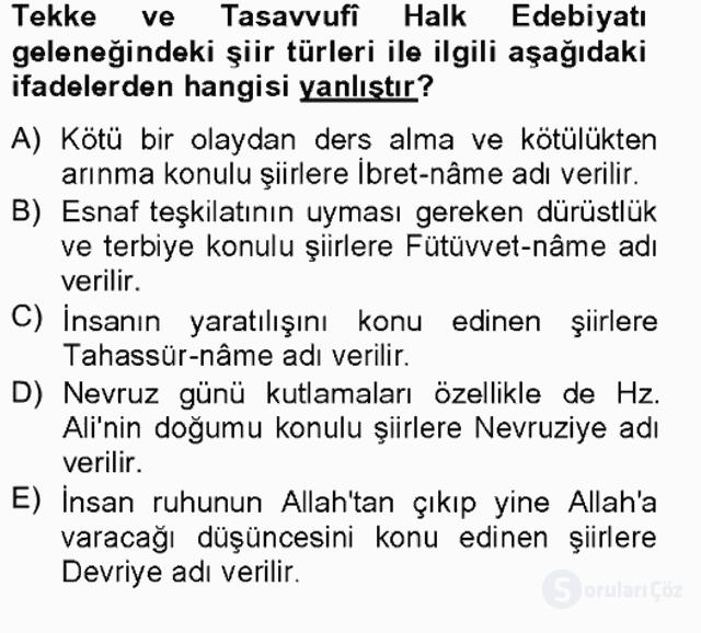 Halk Edebiyatına Giriş II Bahar Final 16. Soru