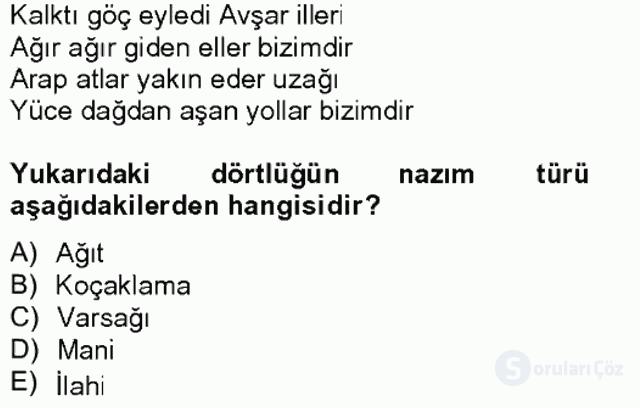 Halk Edebiyatına Giriş II Bahar Final 17. Soru