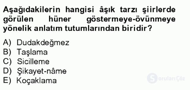 Halk Edebiyatına Giriş II Bahar Final 18. Soru