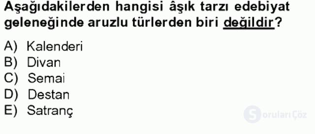 Halk Edebiyatına Giriş II Bahar Final 19. Soru