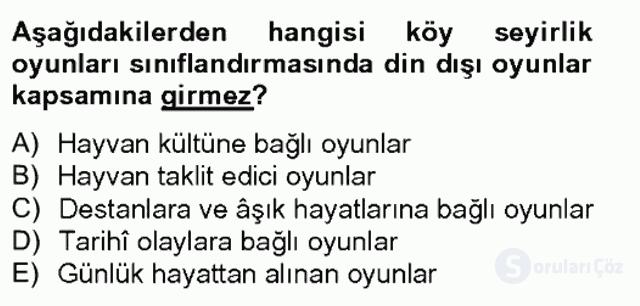 Halk Edebiyatına Giriş II Bahar Final 3. Soru