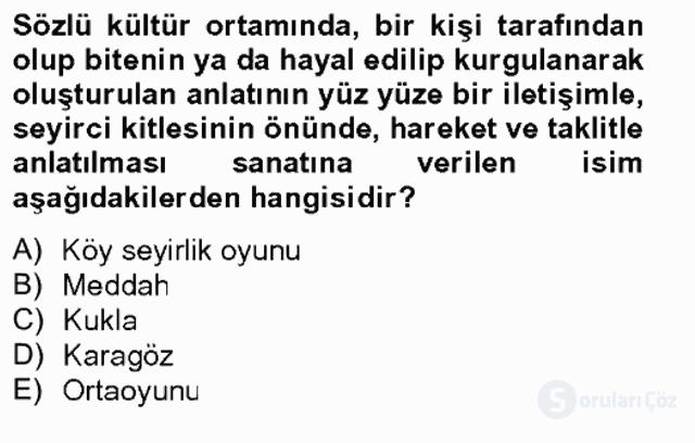Halk Edebiyatına Giriş II Bahar Final 4. Soru