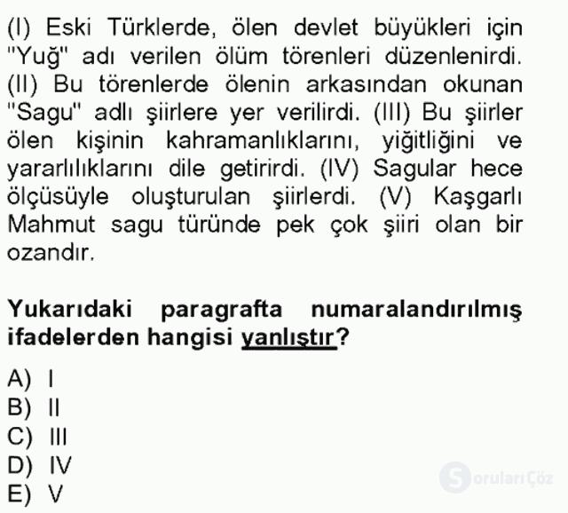 Halk Edebiyatına Giriş II Bahar Final 5. Soru