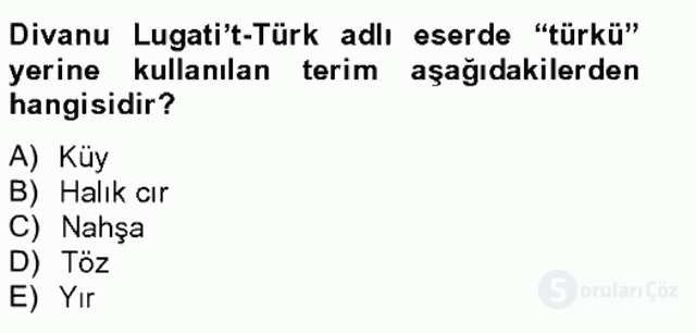 Halk Edebiyatına Giriş II Bahar Final 7. Soru