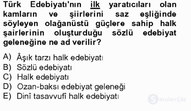Halk Edebiyatına Giriş II Bahar Final 8. Soru
