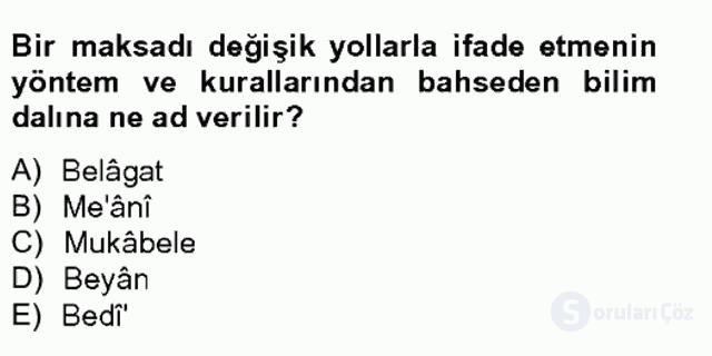 Eski Türk Edebiyatına Giriş: Söz Sanatları Bahar Final 10. Soru