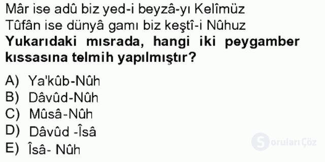 Eski Türk Edebiyatına Giriş: Söz Sanatları Bahar Final 11. Soru