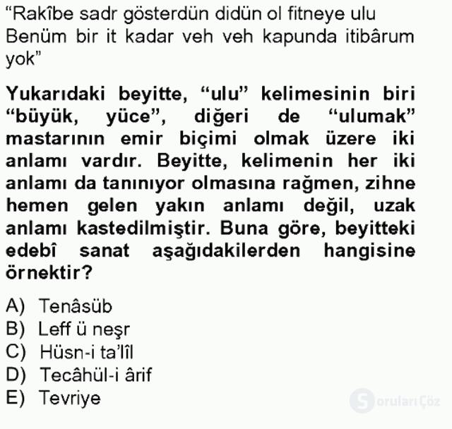 Eski Türk Edebiyatına Giriş: Söz Sanatları Bahar Final 13. Soru