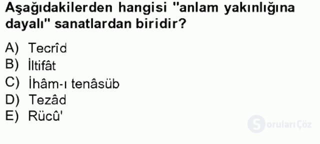 Eski Türk Edebiyatına Giriş: Söz Sanatları Bahar Final 15. Soru