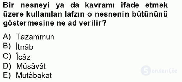 Eski Türk Edebiyatına Giriş: Söz Sanatları Bahar Final 16. Soru