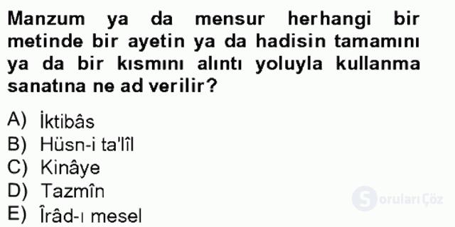 Eski Türk Edebiyatına Giriş: Söz Sanatları Bahar Final 17. Soru
