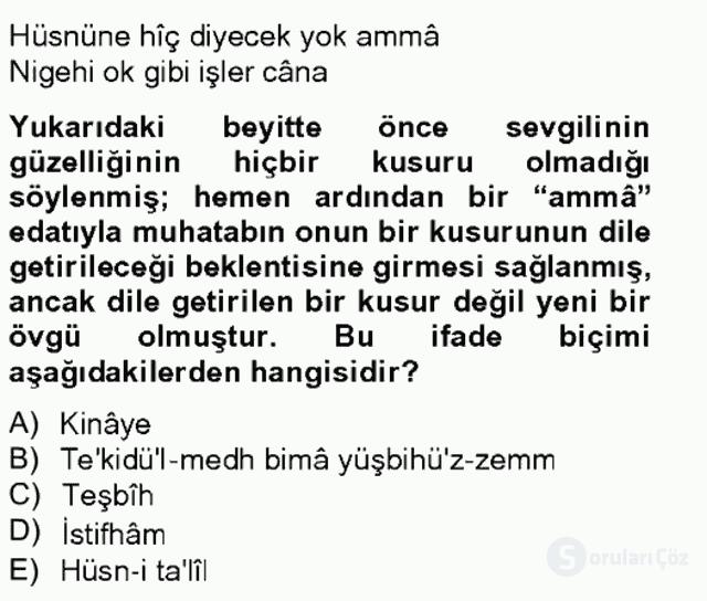 Eski Türk Edebiyatına Giriş: Söz Sanatları Bahar Final 19. Soru