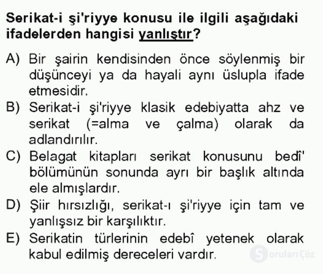 Eski Türk Edebiyatına Giriş: Söz Sanatları Bahar Final 2. Soru