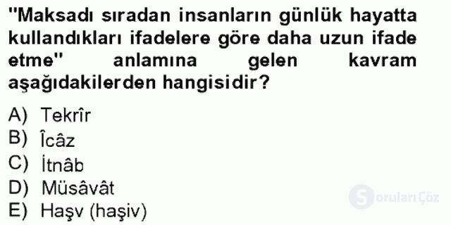 Eski Türk Edebiyatına Giriş: Söz Sanatları Bahar Final 3. Soru
