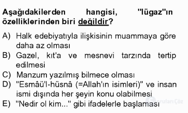 Eski Türk Edebiyatına Giriş: Söz Sanatları Bahar Final 4. Soru