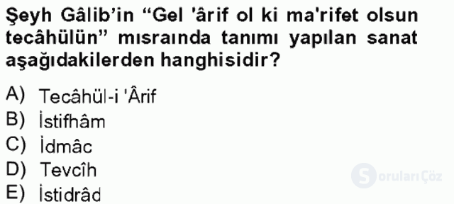 Eski Türk Edebiyatına Giriş: Söz Sanatları Bahar Final 6. Soru