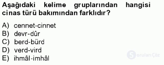 Eski Türk Edebiyatına Giriş: Söz Sanatları Bahar Final 7. Soru