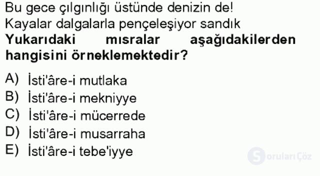 Eski Türk Edebiyatına Giriş: Söz Sanatları Bahar Final 8. Soru
