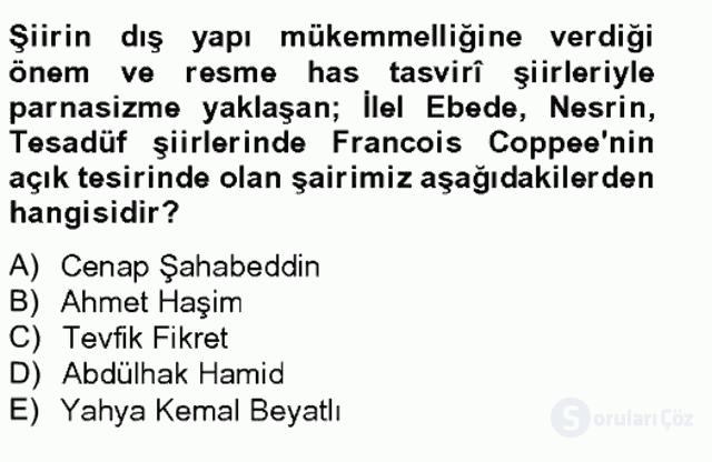 Batı Edebiyatında Akımlar II Bahar Final 19. Soru