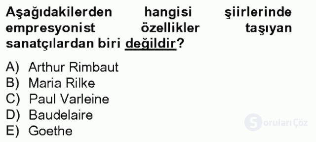 Batı Edebiyatında Akımlar II Bahar Final 2. Soru