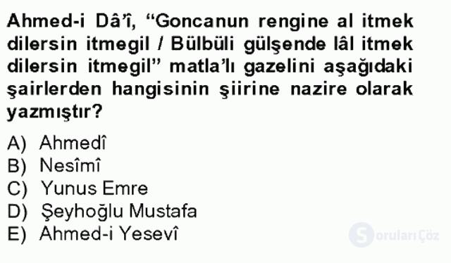 XIV-XV. Yüzyıllar Türk Edebiyatı Bahar Final 11. Soru