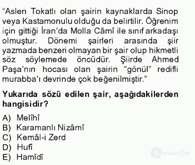 XIV-XV. Yüzyıllar Türk Edebiyatı Bahar Final 12. Soru