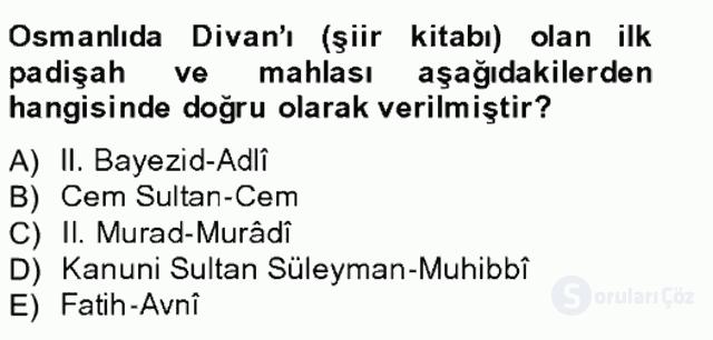 XIV-XV. Yüzyıllar Türk Edebiyatı Bahar Final 13. Soru
