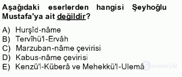 XIV-XV. Yüzyıllar Türk Edebiyatı Bahar Final 14. Soru