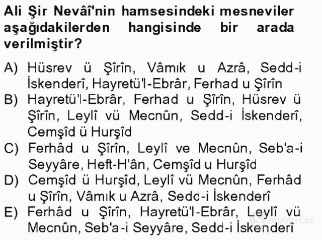 XIV-XV. Yüzyıllar Türk Edebiyatı Bahar Final 15. Soru
