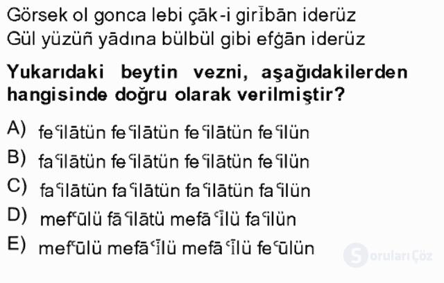 XIV-XV. Yüzyıllar Türk Edebiyatı Bahar Final 16. Soru