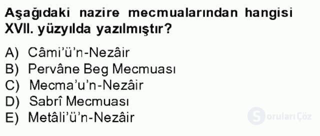 XIV-XV. Yüzyıllar Türk Edebiyatı Bahar Final 17. Soru